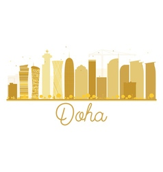 Doha city skyline golden silhouette vector