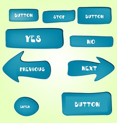 Set of cartoon buttons with different shapes vector