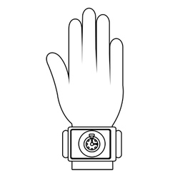 Humand hand wearing square watch with media icon vector