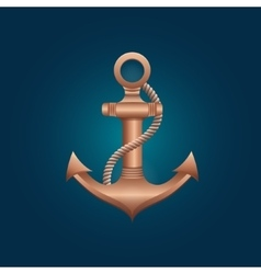 Nautical bronze anchor vector