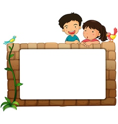 A white board kids and birds vector image