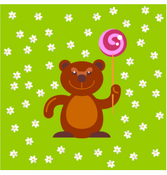 Bear with candy at field vector