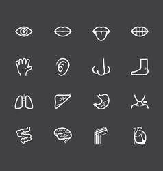 body white icon set on black background vector image vector image