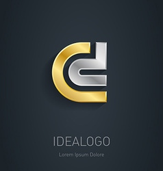 C and D initial silver and gold logo Metallic 3d vector image vector image