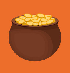 coins pot of gold icon image vector image