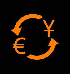 Currency exchange sign dollar and euro orange vector