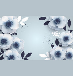 Floral background with white blue anemones vector