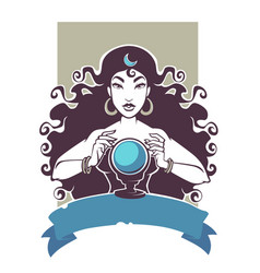 fortune teller beautiful gypsy girl reading vector image