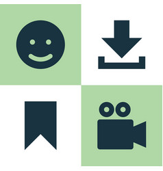 Internet icons set collection of camcorder smile vector