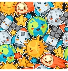 Kawaii space seamless pattern doodles with pretty vector