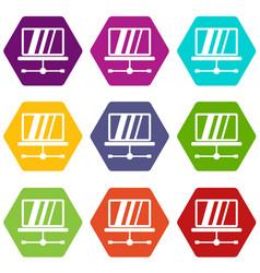 laptop icon set color hexahedron vector image