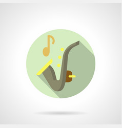 Music lessons saxophone flat round icon vector