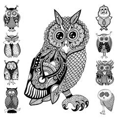 original artwork of owl ink hand drawing in ethnic vector image vector image