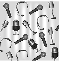 pattern of headphones and microphones on backgroun vector image