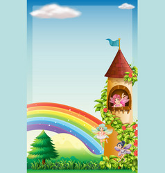 Scene with fairies flying in garden vector