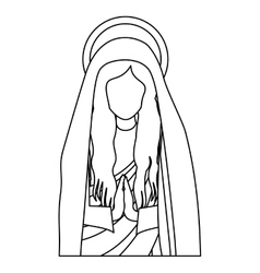 Silhouette half body saint virgin mary praying vector