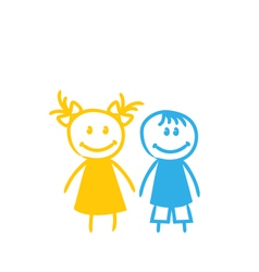Sketch Cute Funny Girl and Boy vector image vector image