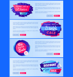 winter sale web posters design with buttons set vector image