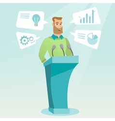 Businessman giving speech at business seminar vector