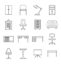 Office furniture icons set outline style vector