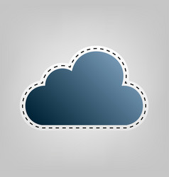 cloud sign   blue icon with vector image