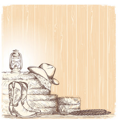 Hand draw cowboy background with western boots vector
