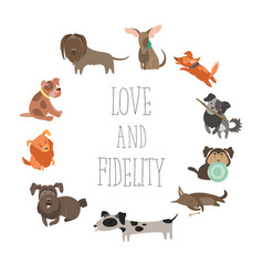 Set of funny mixed breed dogs vector