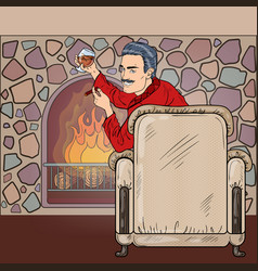 man with cigar and wine near fireplace pop art vector image