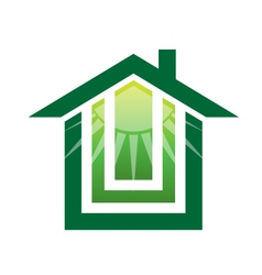 Solar green house logo vector