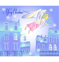Card with Angel at the Blue City vector image