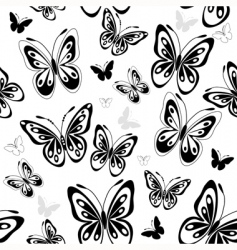 repeating white pattern with butterflies vector image