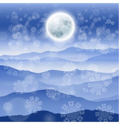 Christmas landscape with full moon vector