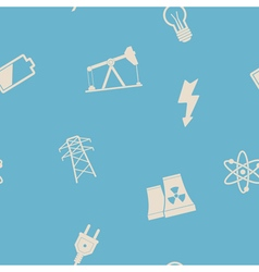 Seamless background with energy and power icons vector