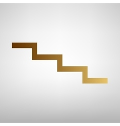 Stair down sign flat style icon vector