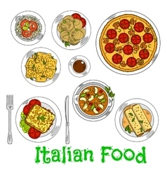 Colored sketch of healthy italian dishes vector