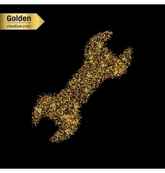 Gold glitter icon of spanner isolated on vector