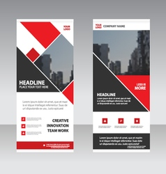 Red business roll up banner flat design templates vector