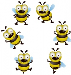 bee cartoon collection vector image vector image