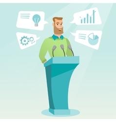 Businessman giving speech at business seminar vector image