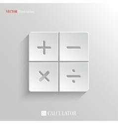 Calculator icon - white app button vector