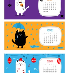 Cat calendar 2017 horizontal Cute funny cartoon vector image vector image
