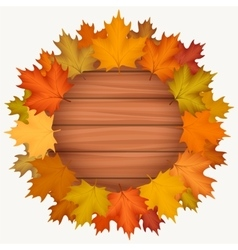 Circle wood banner with autumn leaves vector image