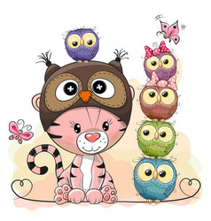 Cute cartoon tiger and five owls vector