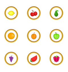 Different fruits icons set cartoon style vector