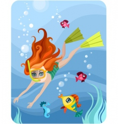 Diver girl vector