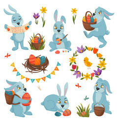 easter decorations big set vector image vector image