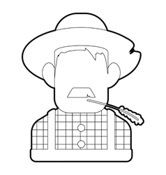 Farmer icon outline style vector