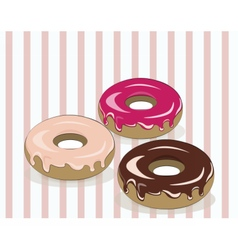 Glazed donuts on vintage background vector