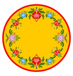 Gorodets painting plate russian national folk vector