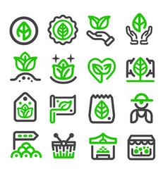 green marketorganic market icon vector image vector image